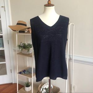 Eileen Fisher 100% linen ribbed tank